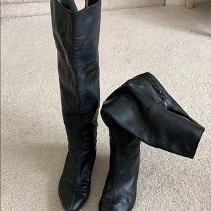 Nine West black leather over knee wedge boot 8